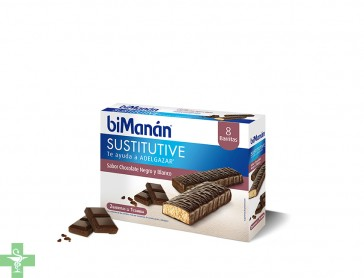 Bimanan Sustitutive Chocolate Negro y Blanco 8 Barritas