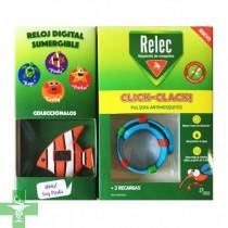 Relec Click Clack Pulsera Antimosquitos + 2 Recargas + Reloj PEZ Digital Sumergible.