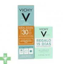 Vichy Ideal Soleil SPF 30 Anti Imperfecciones 50ml + Regalo Gel Limpiador Normaderm + Dermablend 3D